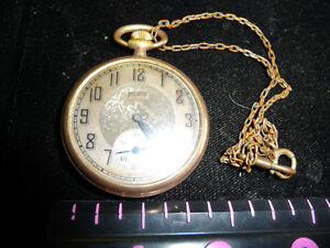 NICE ELGIN POCKET WATCH ,NOT WORKING WITH VINTAGE CHAIN