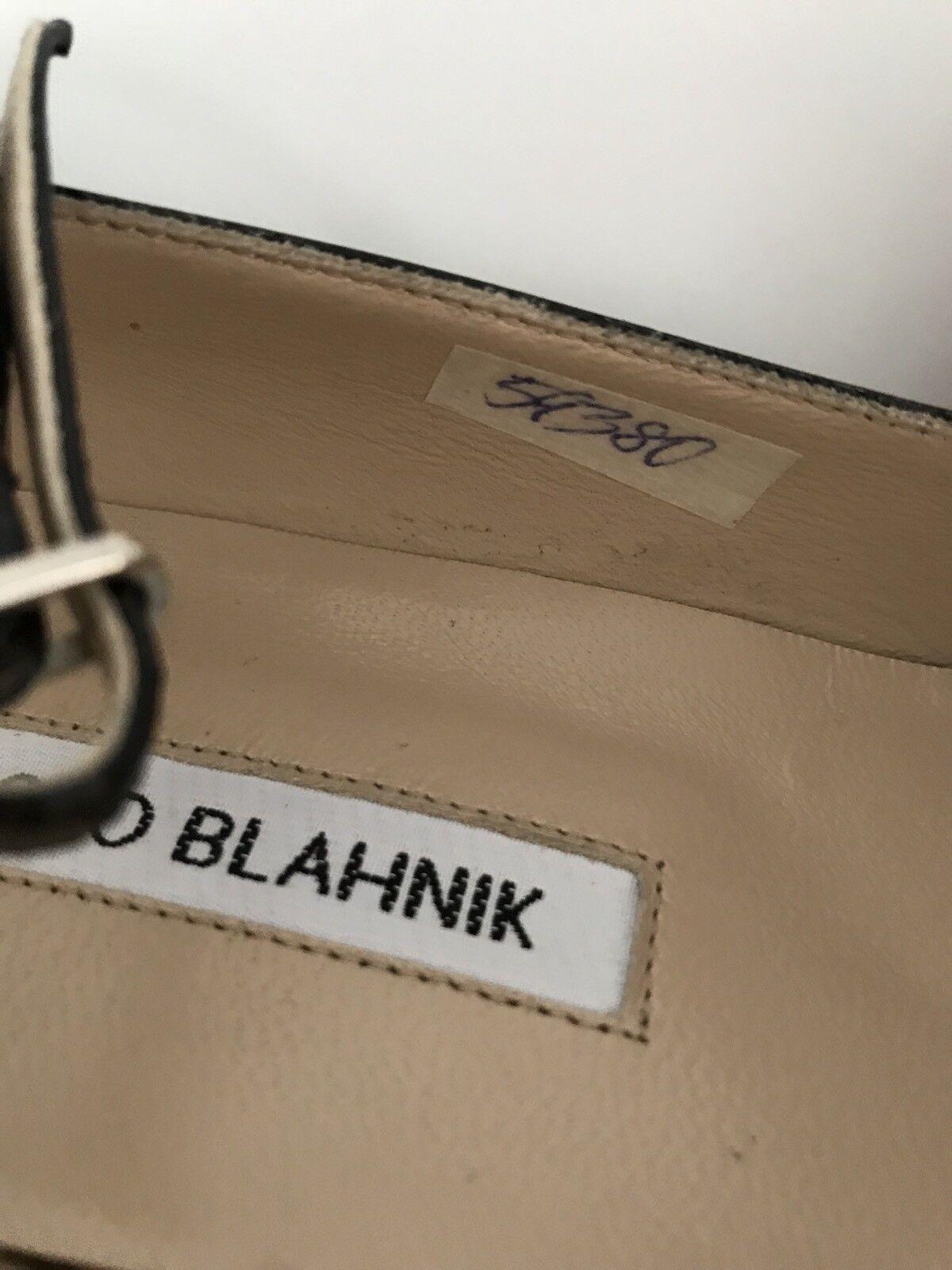 Nouveau  665 Manolo Blahnik Blahnik Blahnik Noir Cuir Verni Bride Cheville Pointure 38 1 2 160e45