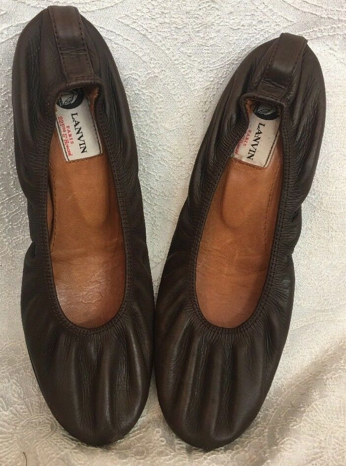 Lanvin chaussures Dark marron Leather Flat Taille 40 Fits Taille 8.50 -9