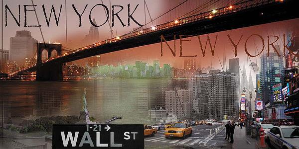 Aragon  New York Collage I Fertig-Bild 50x100 Wandbild