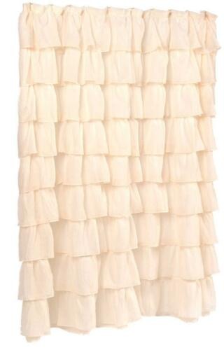 x 72 in 70 in Ivory Carmen Crushed Voile Ruffled Tier Shower Curtain