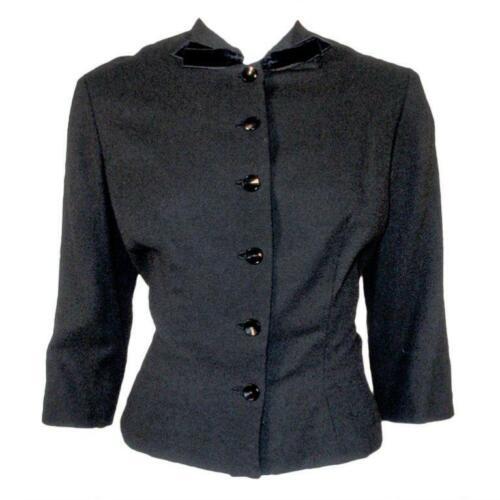 HOWARD GREER 1950s Black Wool Waist Jacket, Velvet