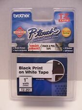 """Genuine Brother P-Touch TZ Tape Black Print on White Tape 1"""" 24mm TZ-251 NEW"""