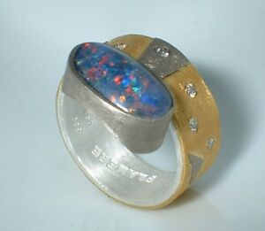 Ring-Diamant-Opal-Triplette-Silber-999-Gold-999-Gr-54-Flamere-Design