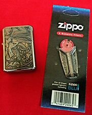 STAR Windproof Lighter Revolver Emblem + 6 Genune flints Zippo BLU / 1 pack