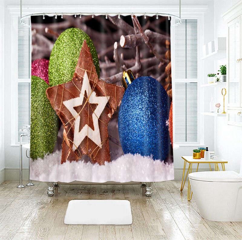 3D Weihnachten Xmas 082 Duschvorhang Wasserdicht Faser Bad Daheim Windows DE