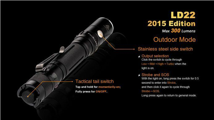 Fenix ld22 CREE xp-g2 xp-g2 xp-g2 r5 LED Lampe de poche Flashlight 300 Lumen strobe + sos 8837bc