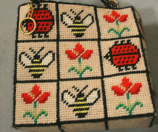 Needlepoint Plastic Canvas Purse Tote VTG Tulips Bubble Bee Lady Bugs 1960 70s