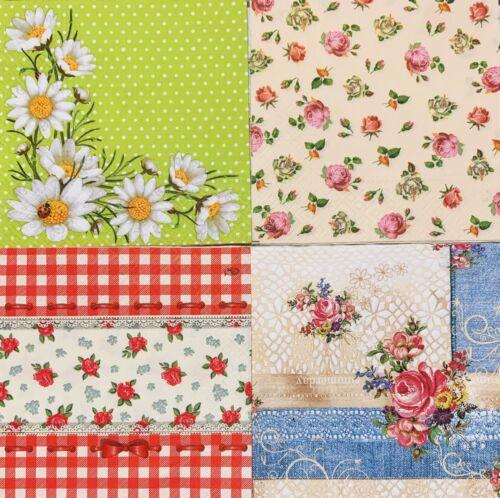 4x Servilletas Decoupage//Flores de Arte de Papel Rosa Margarita Floral Guinga lunares