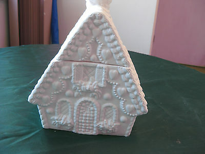 "Ceramic 04 Bisque Gingerbread House Cookie Jar Country ""My Way"" Ceramics"