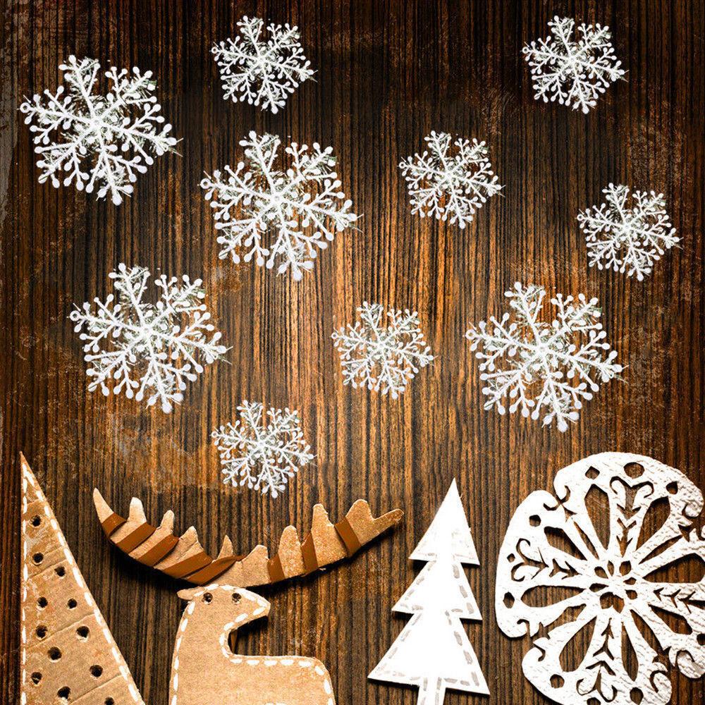 150x Schneeflocken Snowflake Weihnachtsbaumdeko Christbaumschmuck Aufhängen 11cm
