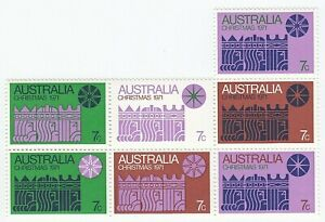 1971-Australia-7-cent-039-Christmas-Issue-034-Block-Showing-All-7-Stamps-MNH