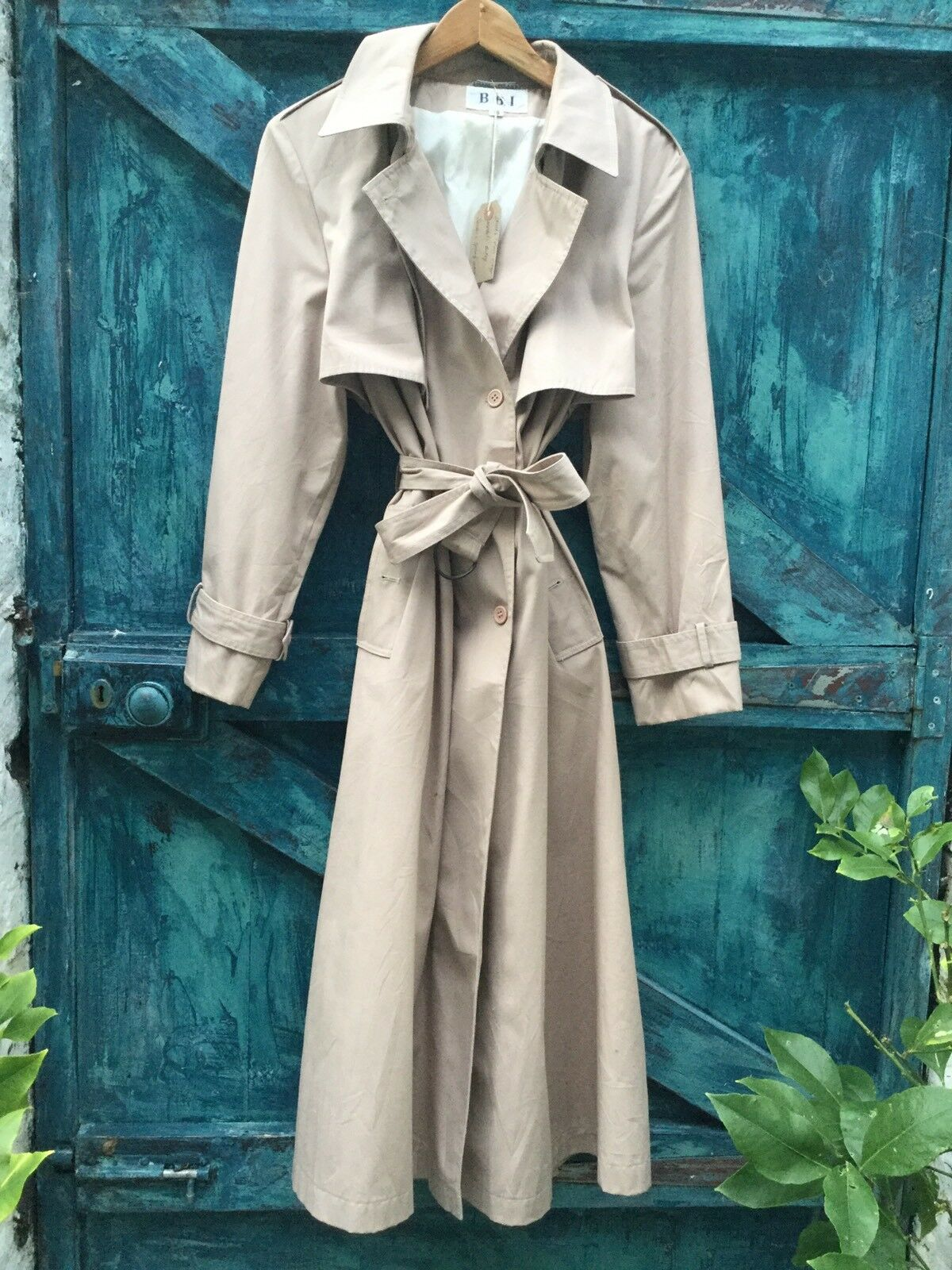 Womens Trench Coat Size L Beige Vintage Flasher Mac Raincoat Vgc
