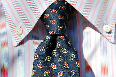 Robert Talbott Men's 100% Silk Vintage Navy Blue Foulard Necktie Roger Stevens
