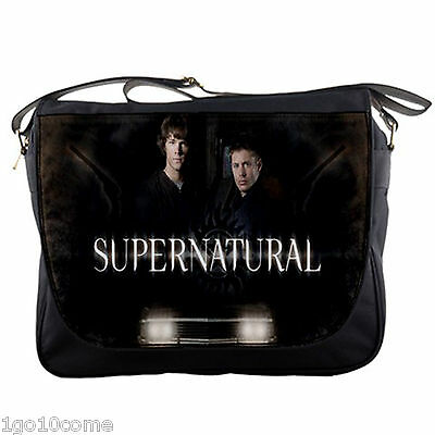 Supernatural Messenger Bag Black Nylon Sam Dean Notebook Laptop School Shoulder