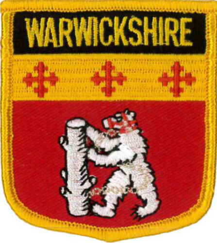 "Shield 2 1//2/"" X 2 3//4/"" Warwickshire County Embroidered Patch 6CM X 7CM"