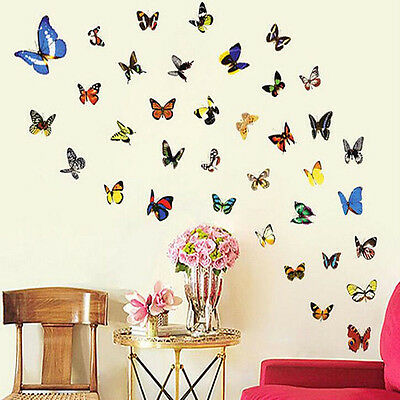80PCS  Colorful Home Wall Decor Art Decal Removable Vinyl Butterfly Stickers
