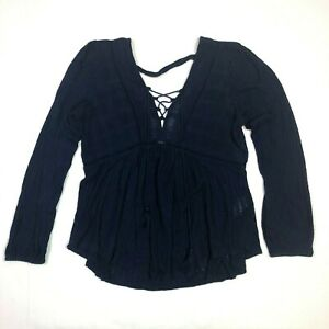 Lucky brand long sleeve lace up neckline open back navy blue size small