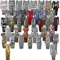 New Womens Ladies Celeb Long Sleeve Animal Print Stretchy Bodycon Midi Dress8-14
