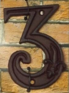 Gusseisen-Hausnummer-Nummer-3-Nostalgie-Zahl-Ziffer-Lilie-Landhaus-ca-8-11cm