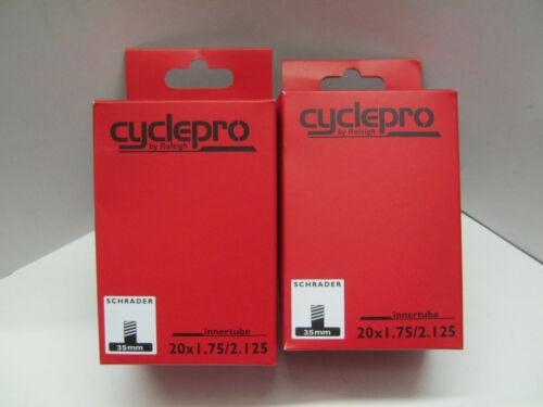 2 X Raleigh Cyclepro BMX Vélo Tube Intérieur 20 x 1.75-2.125 Schrader TA101