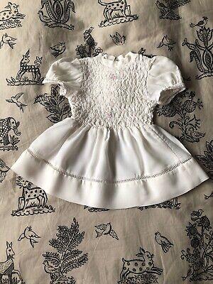 Vintage Graziosa Francese Piccole Ragazze Abito Bianco Stile Smock Top 1950s 1960s- Facile E Semplice Da Gestire