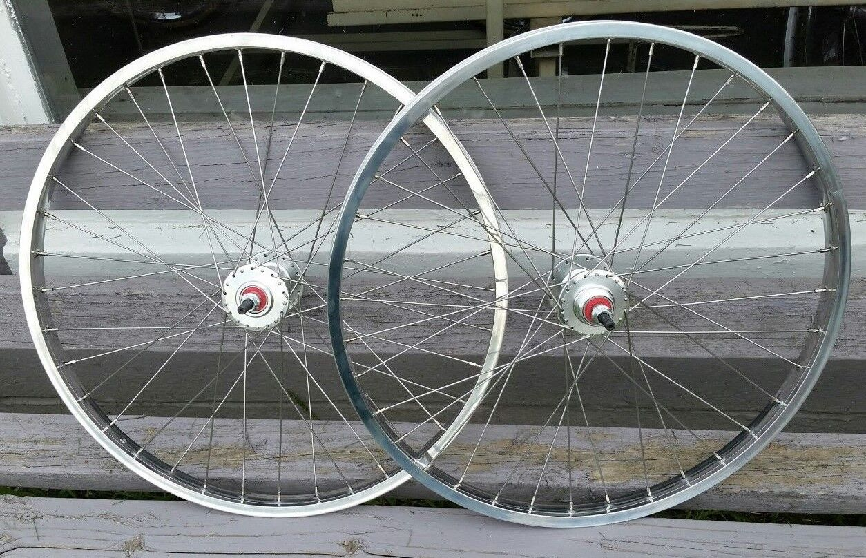24  7X style Sealed High Flange BMX Wheels Freewheel Pair Polished