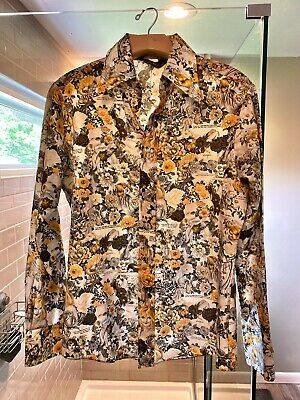 Vintage 70s Chemise et Cie Bamboo Print Shirt Medium