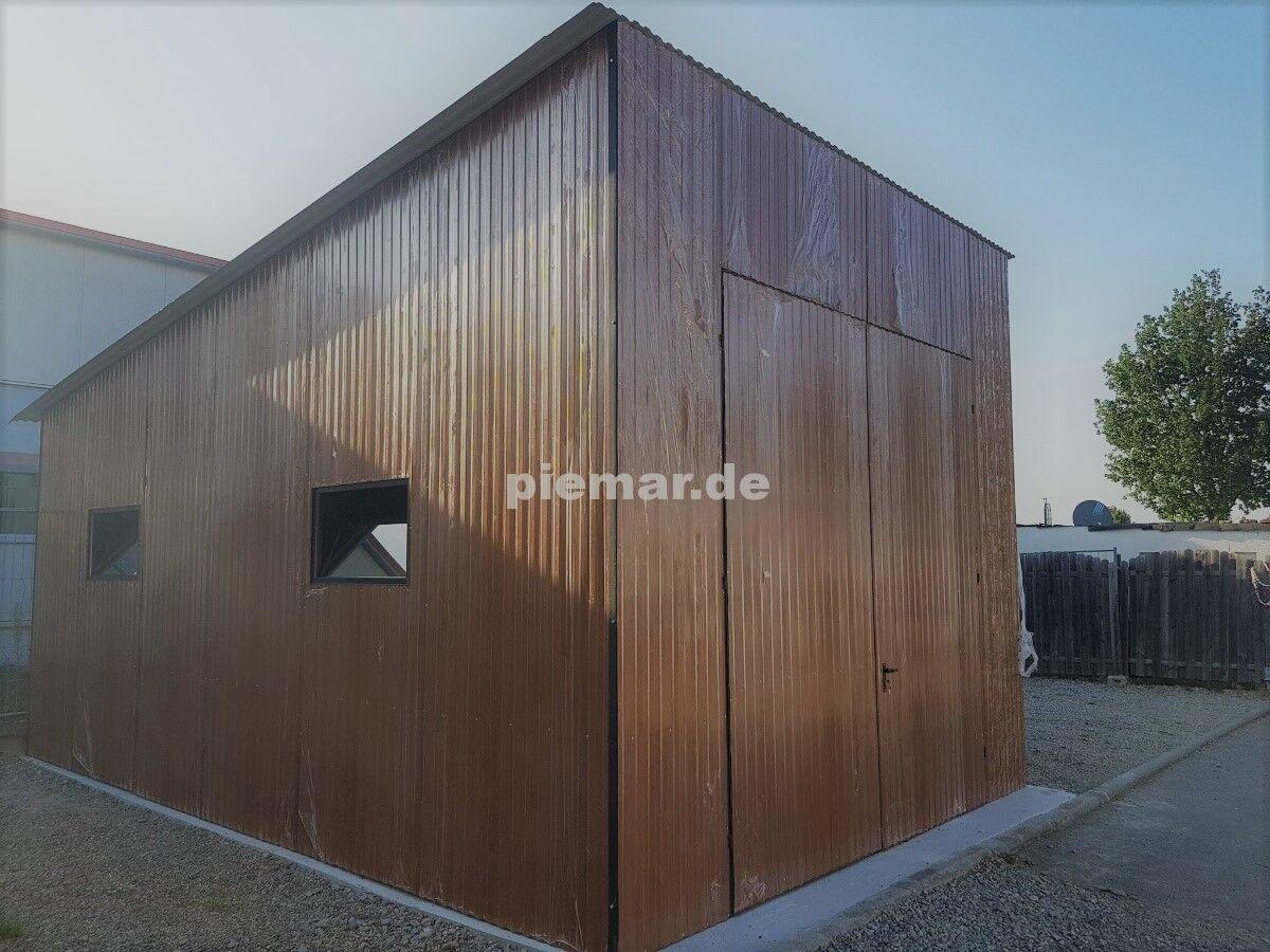 Blechgarage 4x6x3  Holzoptik Halle Garage KFZ Lager NEU mit Aufbau