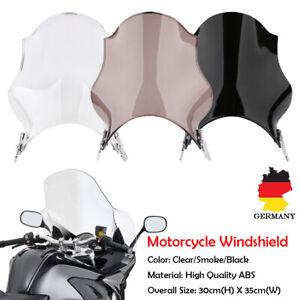 Motorrad-Windschutzscheibe-Windschild-fuer-Honda-Yamaha-Suzuki-Rund-Scheinwerfer