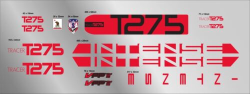 INTENSE TRACER T275 CUSTOM MADE FRAME DECAL SET red