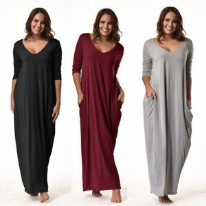 Womens-Oversized-3-4-Sleeve-Tunic-Loose-BOHO-Maxi-Jumper-Shirt-Dress-Pocket-HOT