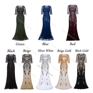 40aa82374d5 Black 1920s Flapper Dress Vintage Gatsby Long Prom Evening Gowns ...