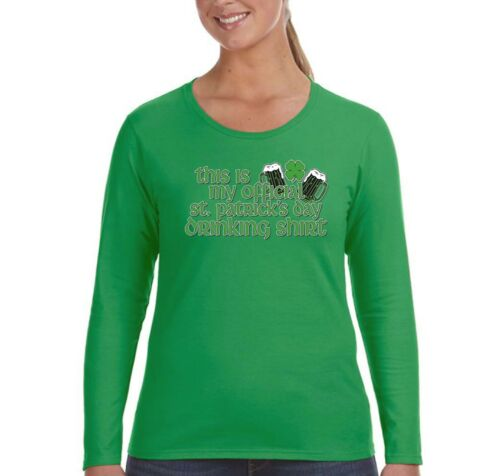 Womens St Patrick/'s Day Drinking Shamrock Irish Green Beer Long Sleeve T-Shirt