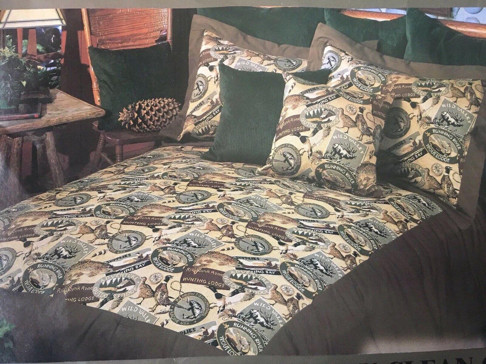Karin Maki Daybed Comforter HUNTING Fishing Vtg Style CABIN  Bedspread Set NEW