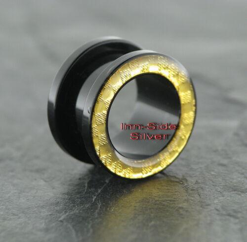 Plástico piercing oreja túnel black carbon Goldline UV tamaños diferentes