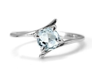 925-Sterling-Silver-Blue-Aquamarine-Ring-Natural-Round-Solitaire-Size-4-11
