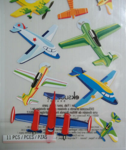 11 Pcs Assorted Planes  Stickers  EKSuccess NIP Free Shipping