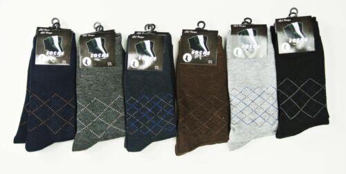 New 6 Pairs Men Argyle Dress Socks Solid Dressed Socks LJL Design Size 10-13