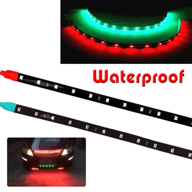"12"" Boat Bow Navigation Car LED Lighting Submersible Marine Strips Red Green 12V"