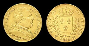 COPIE-Piece-plaquee-OR-GOLD-Plated-Coin-Louis-XVIII-20-Francs-1815-R