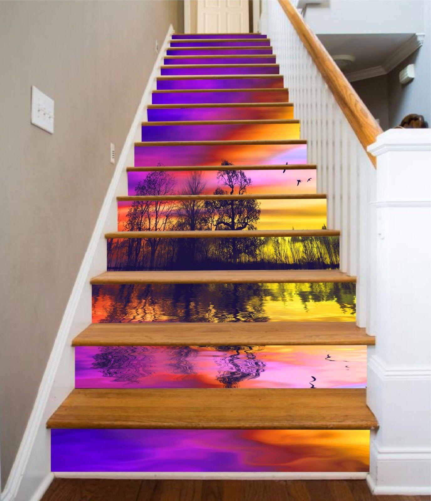 3D Twilight Sea 837 Stair Risers Decoration Photo Mural Vinyl Decal Wallpaper AU