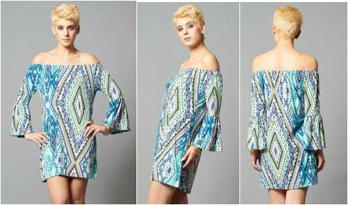 PLUS SIZE OFF SHOULDER BAROQUE AQUA BELL SLEEVE MINI SEXY DRESS NEW 1X 2X 3X