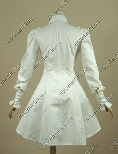 Victorian Gothic White Cotton Blouse Shirt Steampunk Punk Theater Top Wear B007