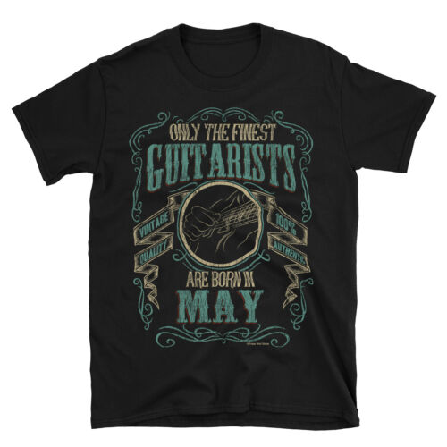 Mens GUITAR T-Shirt Finest Guitarists Born in MAY Music Birthday Christmas Gift