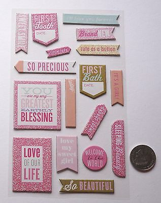 SCRAPBOOKING NO 354 - 15 PLUS DIE CUT CARD STOCK STICKERS - BABY GIRL THEME