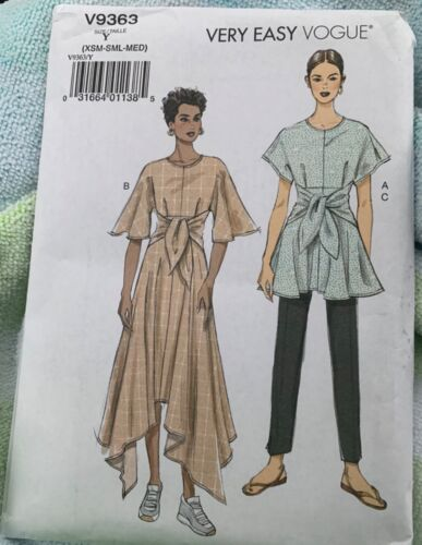 Very Easy Vogue V9363 Sewing Pattern Tunic Dress Pants Size XSM SML MED