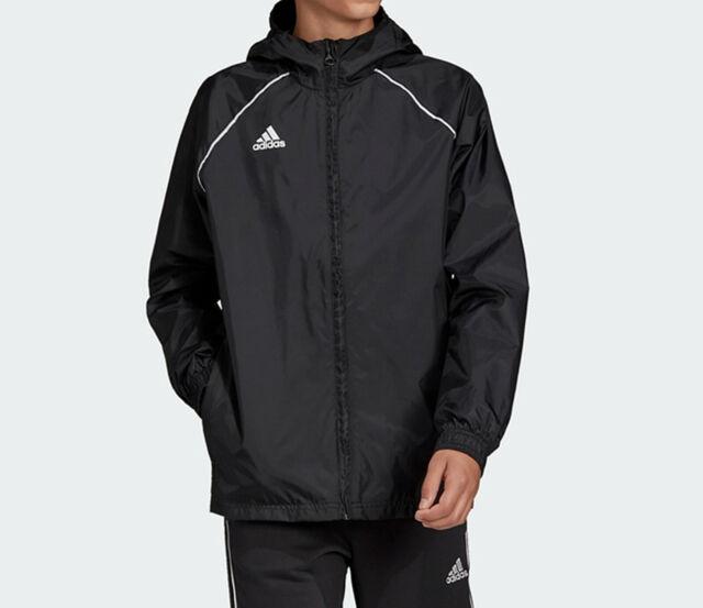 Garçons Adidas Core 18 Rain Veste Manteau Capuche Imperméable Sport Football Zippé Noir