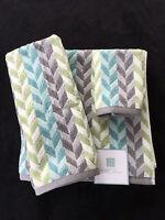 Peri Chevron Aqua Green Grey White Bath Hand Wash Towels - Set Of 3 -