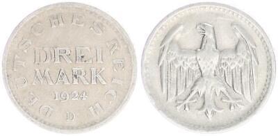 Realistisch Weimar 3 Mark 1924 D Ss+ Elegant Und Anmutig